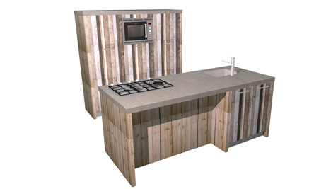 Eiland keuken sloophout en beton