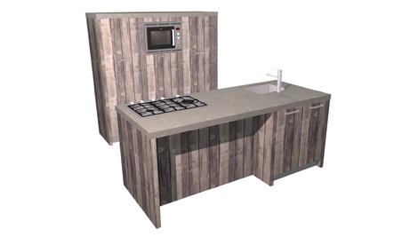 Eiland keuken steigerhout en betonnen aanrechtblad