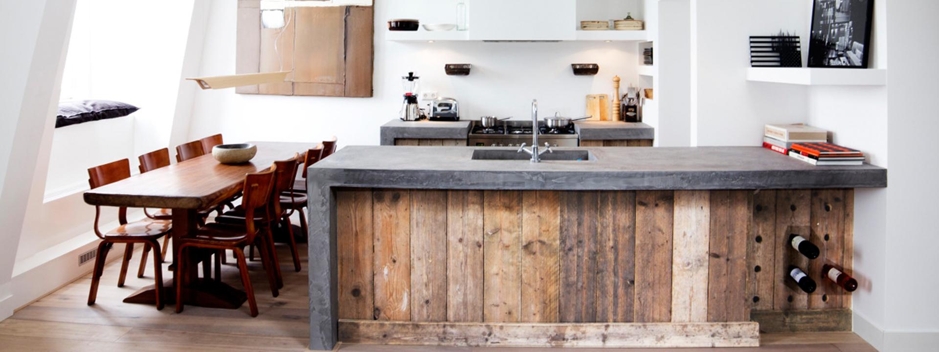 Keuken Met Betonblad : F?RN Keukens Keukens van steigerhout, sloophout en microbeton