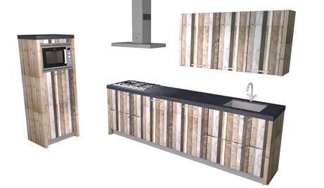 Rechte keuken met sloophout en betonnen aanrechtblad