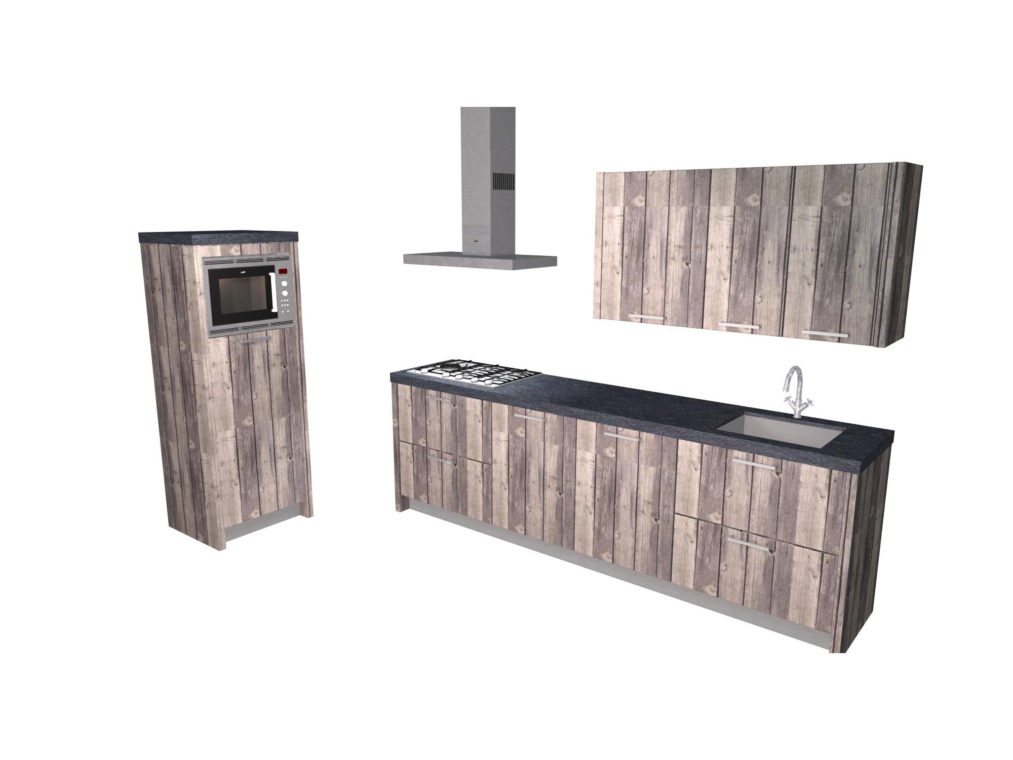 rechte keuken steigerhout betonstuc
