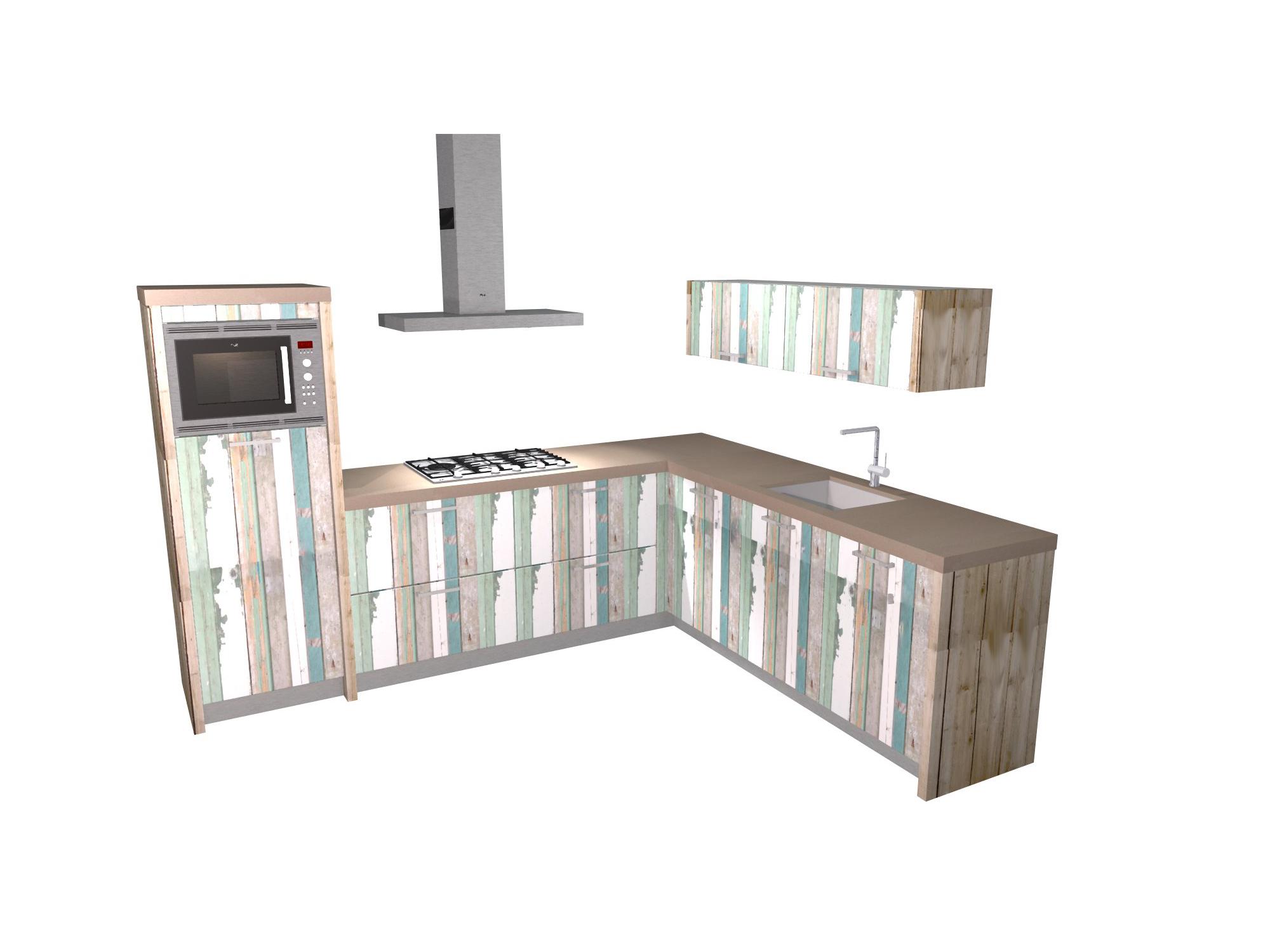 hoek keuken sloophout en beton