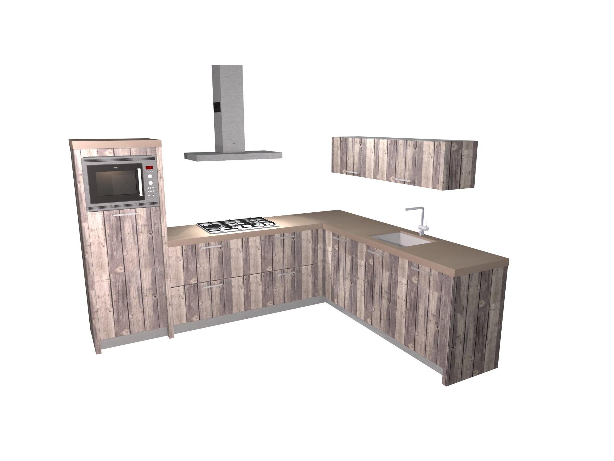 Keuken Steigerhout Kind : F?RN Keukens Hoekkeuken met steigerhout en beton