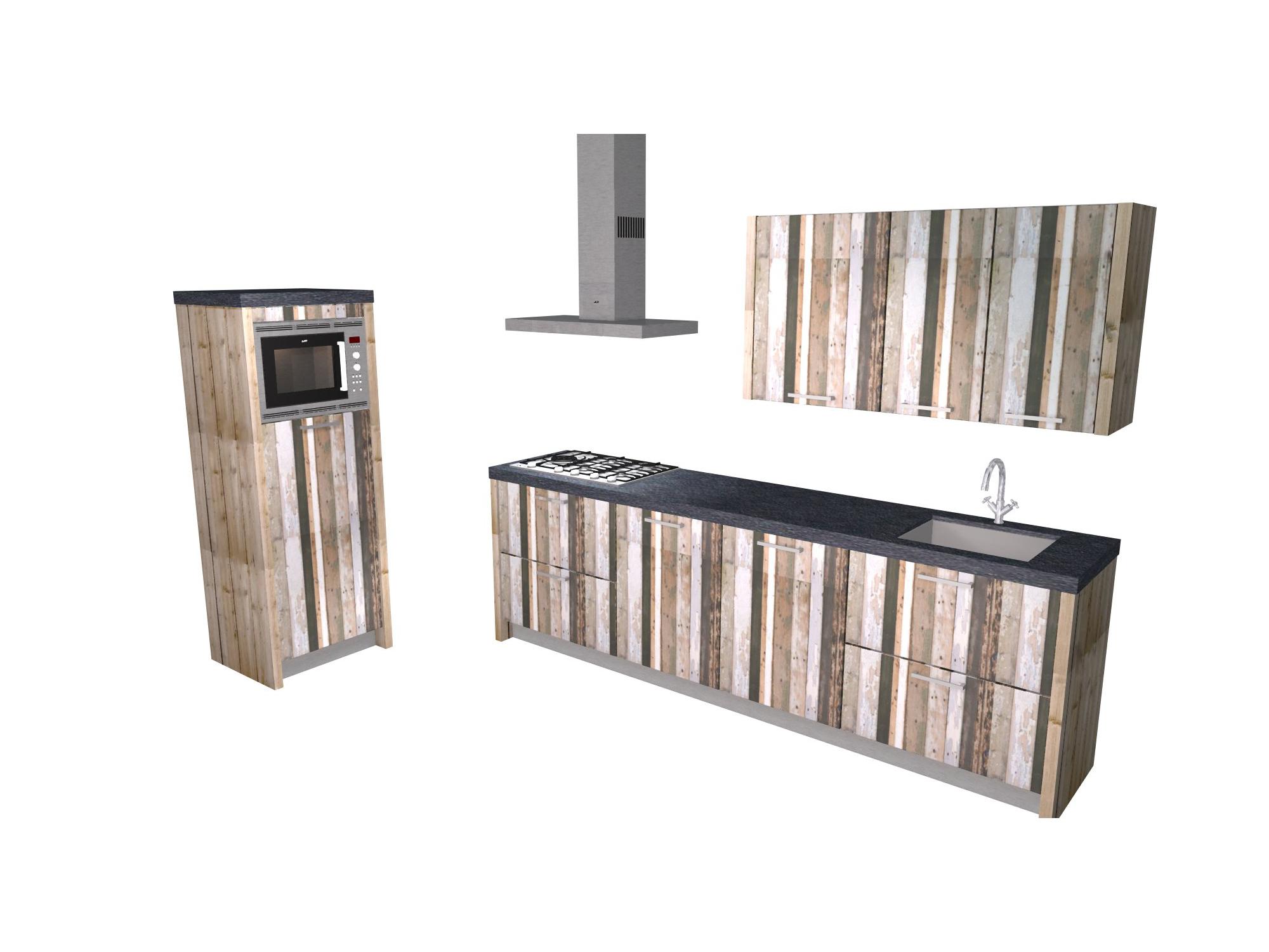 rechte keuken sloophout betonstuc
